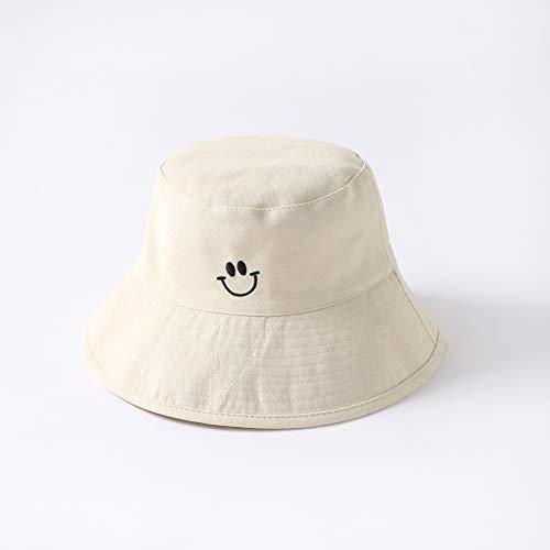 tgbvr Sonnenhut Weiblich Sonnenschutzhut Weiblich Sommer Hundert Hitchy Doppelseitige Smiley-Gesicht Angeln Mann Hut Beige