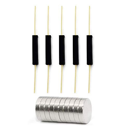 WOWOONE 5pcs Plastic Reed Switch Reed Contact Normally Open (N/O) Magnetic Induction Switch (2.5mm×14mm) with 10pcs Small Multi-Use Round Magnets