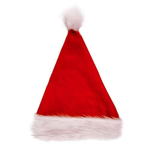 Gorros Papá Noel para Navidad, Sombrero Santa Claus de Terciopelo Suave y Rojos para Fiesta Navideña, Adultos y Niños Unisex