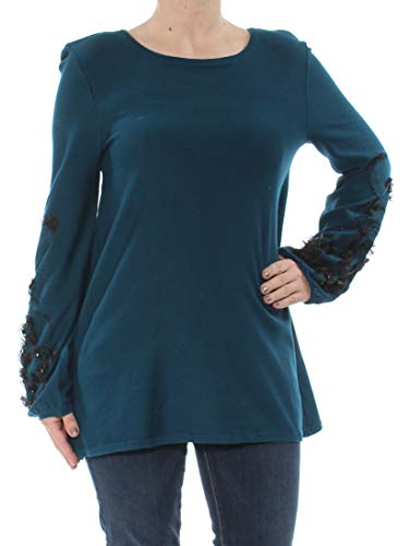 Alfani Womens Embellished Bishop Sleeves Pullover Sweater XL, Ocean Teal
