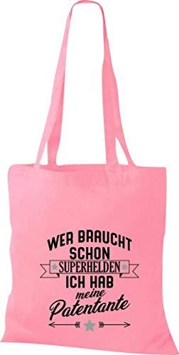 Shirtstown Bolsa de Tela, Quién Necesita Schon Superhéroes Yo lo Tengo mi Madrina, Bolsa Bolsa Shopper - Rosa, 38 cm x 42 cm