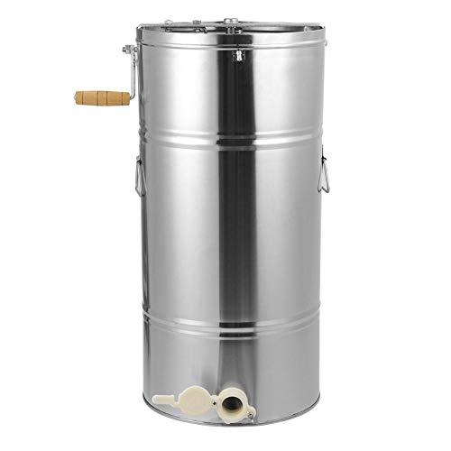 Edelstahl Honigschleuder, 2 Waben Honig Extraktor Manuelle Honey Extractor für Imker, Starke Kraft, Hygienisch, 25x45CM