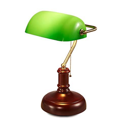Klassieke bankiers tafellamp met houten lamphouder en groen glazen kap nachtlampje Traditionele antieke bureau leeslamp E27 Treklijnschakelaar
