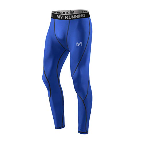 MEETYOO Legging Homme, Sport Pantalons et Compression Collant Cool Dry Fitness Musculation Respirant Base Layer pour Running Jogging Cyclisme Course,L,Bleu-2
