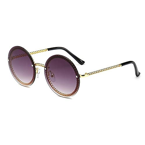 Dollger Gafas de sol redondas para mujer de moda de gran tamaño círculo lindas gafas de sol con marco de cadena