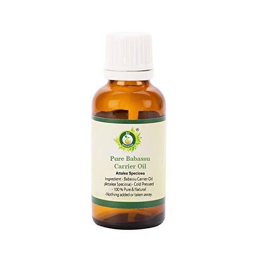 R V Essential Aceite portador puro de babasú 10ml (0.338oz)- Attalea Speciosa (100% puro y natural Prensado en frío) Pure Babassu Carrier Oil