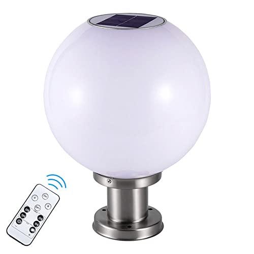 DENGJIN Luz de pilar LED moderna con forma de globo para exteriores, lámpara de poste regulable de tres colores con forma de bola redonda y control remoto, accesorio de iluminación de columna impermea
