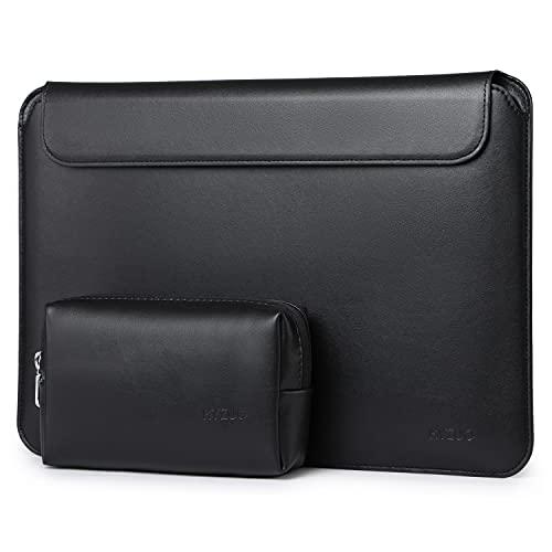HYZUO Funda fina para portátil de 13 pulgadas, compatible con MacBook Air M1 2018-2021/MacBook Pro 2016-2021/iPad 12,9 2018-2021 M1/Dell XPS 13/Surface X 7 6 5 4, color negro (cuero cordero)