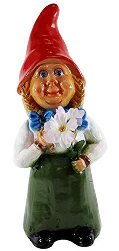 RAKSO Deko Figur Gartenzwerg Frau H 35 cm mit Blumen stehend Zwergenfrau aus Kunststoff