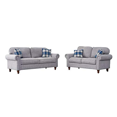 2 Seater and 3 Seater Sofa Couch Settee Fabric Sofa Living Room Sofa with Retro Design Leg and 2 Free Cushions (Gray, 2 Seater + 3 Seater)