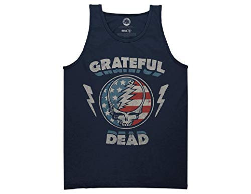 Ripple Junction Grateful Dead Adult Unisex Steal Your Face Stars and Stripes Light Weight 100% Cotton Muscle Tank Top XL Navy