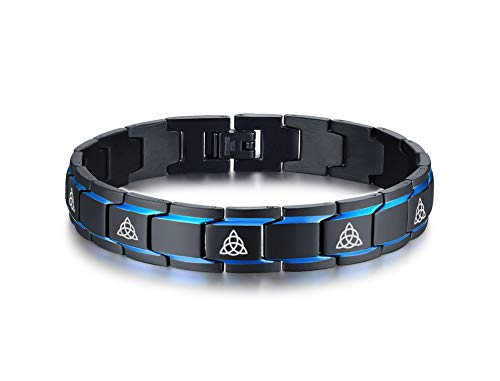 MEALGUET 2-Tone Black and Blue Stainless Steel Celtic Knot Engraved Triquetra Trinity Knot Symbol Link Bracelet Wristband for Men Boys, 8.2'