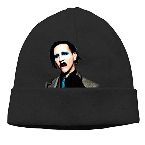LuANelson Marilyn Manson Beanie Cap Soft Fashion Warm Hat Hedging Caps Cap for Men and Women Black