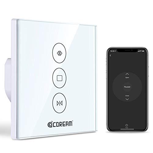 Rolladen Zeitschaltuhr, cDream WLAN Rolladenschalter kompatibel mit Alexa und Google Home, Jalousien Schalter mit Touch Panel, APP Fernbedienung und Zeitplanfunktion, 2.4GHz unterstützt(1 Pack)