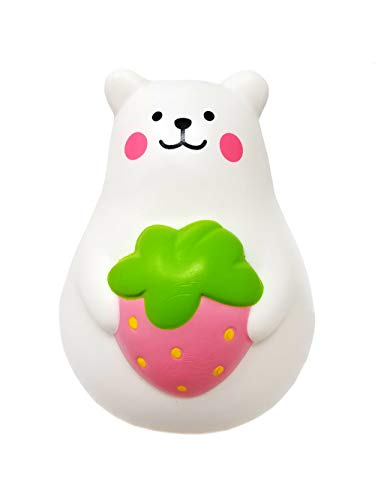ibloom Marshmallow Bear Mr White Slow Rising Squishy Toy (Pink Strawberry, 3 Inch) for Party Favors, Stress Balls, Birthday Gift Boxes, Kawaii Squishies for Kids, Girls, Boys, Adults