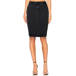 Women's Stretch Denim High Waist Pencil Skirt Midi Knee Length