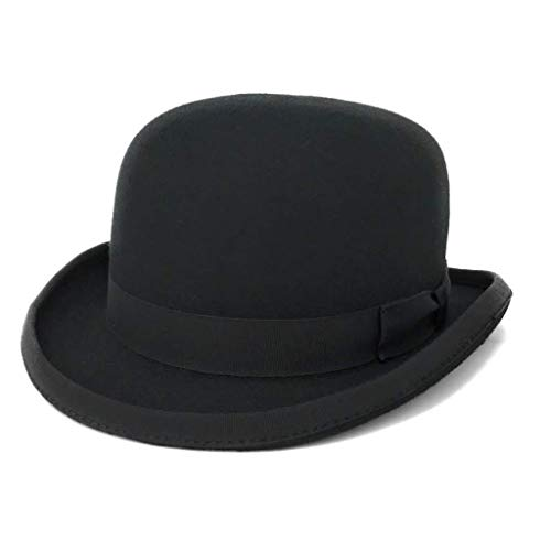 Chapeau melon en noir Quality feutre laine chapeau - Noir - Noir, Noir, 55cm Small