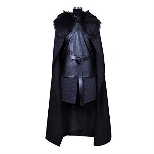 MSSJ Juego de Tronos Jon Snow Disfraces de Cosplay Caballero Juego de rol Conjunto Completo Disfraz Carnaval de Halloween Chaleco de Capa para Hombres Mujeres S Negro