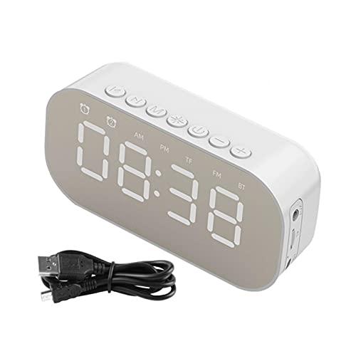 EKDJKK Mirror Surface FM Radio Dual Alarm Clock Gift Home Bluetooth 5.0 Speaker 3 Modes