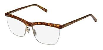 Trussardi 12511 Mens/Womens Rx-able Popular Style Designer Half-rim Spring Hinges Eyeglasses/Eyewear  54-16-135 Amber Pattern / Gold