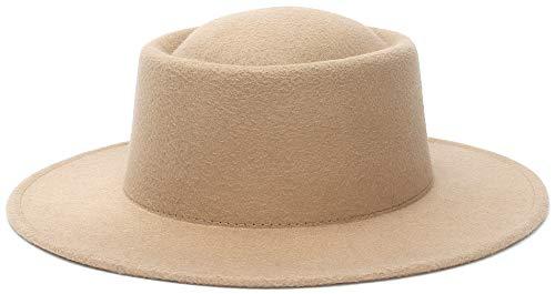 Cloudkids Vintage Pork Pie Sombrero de Fieltro ala Ancha Mujer/Hombre - Fedora Verano/Invierno - Sombreros de Vestir Unisex Elegante 57CM