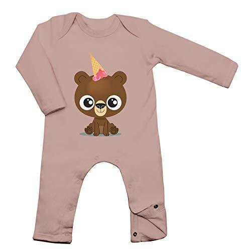 Shirt Happenz Bär Unicorn Babybody Bärchen Einhorn EIS Ice Cream Langarm Langärmliger Strampler, Farbe:Babyrosa (Powder Pink BZ13);Größe:12-18 Monate