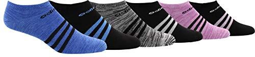 adidas Damen Superlite No Show Socken 6er Pack, Damen, Women's Superlite 6-pack No Show Sock, Hi/Res Blue/Super Blue Space Dye/Black/Black/White, 5-10