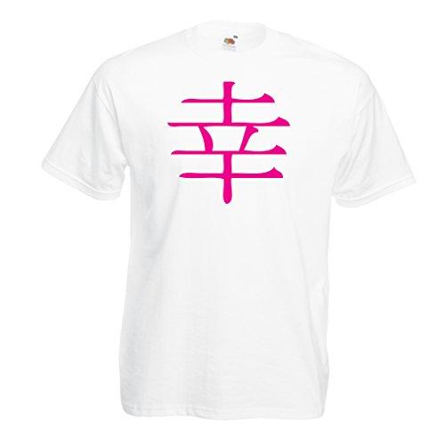 Männer T-Shirt Glücklogogram - Chinesisches/Japanisches Kanji-Symbol (Medium Weiß Magenta)