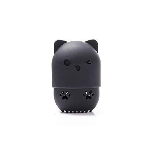 Beauté mélangeur feuilletée support éponge maquillage boîte de séchage oeuf mélangeur cosmétique portable silicone souple rack boîte éponge,Black