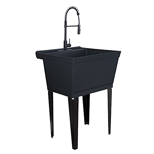 Utility Sink Extra-Deep Laundry Tub in Black with High-Arc Coil Pull-Down Sprayer Faucet in Matte Black, Integrated Supply Lines, P-Trap Kit, Heavy Duty Floor Mounted Freestanding Wash Station