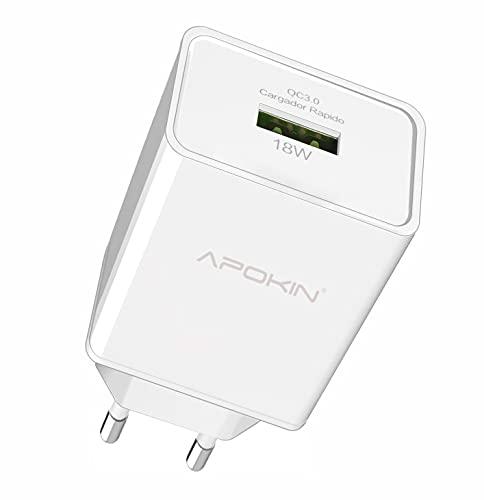 APOKIN® Cargador Ultra Rapido Quick Charge 3.0 USB 3.1A QCAlimentador USB Adaptador...