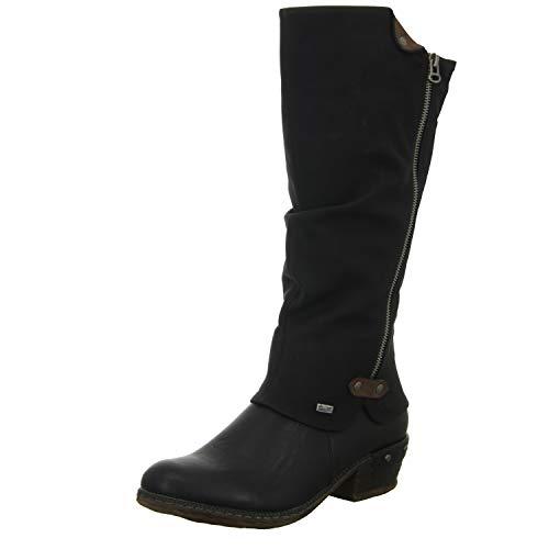 Rieker 93655 Damen Winterstiefel,Winter-Boots,Fellboots,Fellstiefel,gefüttert,warm,Reißverschluss,schwarz,40 EU