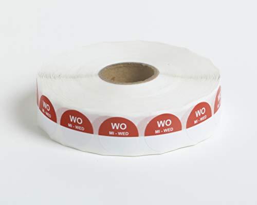 Set van 5 Rollen - 2000 HACCP Labels op 1 rol - 10.000 in totaal - woensdag - rood - ronde dagstickers 19 mm, schrijfbaar. Plakt op elke ondergrond, voor etenswaren koelkast en vriezer, houdbaarheidsdatum,THT