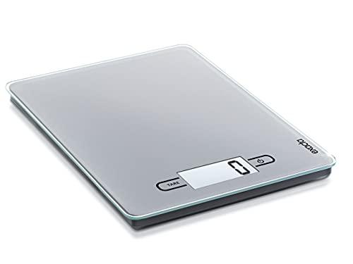 Exacta Touch Digitalwaage für max. 5 kg, digitale Küchenwaage mit großer Wiegefläche und Tara, praktische Haushaltswaage mit Sensor-Touch-Funktion und An- und Abschaltautomatik, grau
