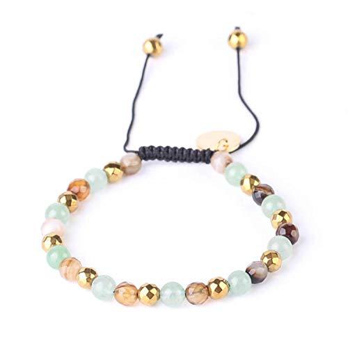 2Pcs 6mm Natural Stone Green Aventurine Bracelet Adjustable Weave Rope Bracelets Gold-color Bead Blue Onyx Bangle for Women F532