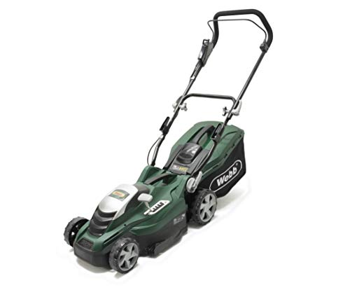 Webb Classic WEER36 Electric Rotary Lawnmower with 5 Cutting Heights, 36cm Cutting Width and 45L Collection Bag - 2 Year Guarantee