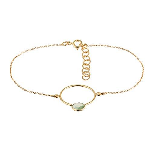 Córdoba Jewels  Pulsera en Plata de Ley 925 bañada en Oro con Piedra semipreciosa con diseño Circle Esmeralda Oro