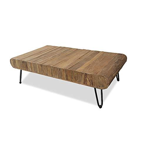 MÖBEL IDEAL Couchtisch aus massivem Teak/Teakholz im rustikalen Design Tisch - 38 x 70 x 130 cm - Beistelltisch in Braun Massivholz