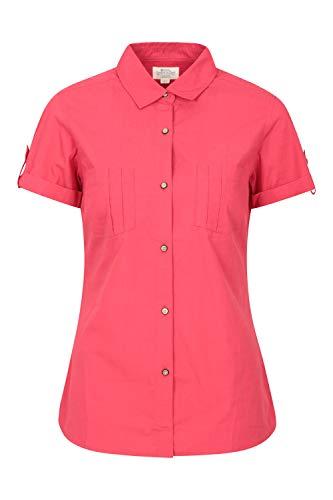 Mountain Warehouse Coconut Camisa de Las Mujeres Cortas de la Manga - 100% Tapa del Verano de Las señoras del algodón, Peso Ligero, Blusa de Breathable Rojo 44