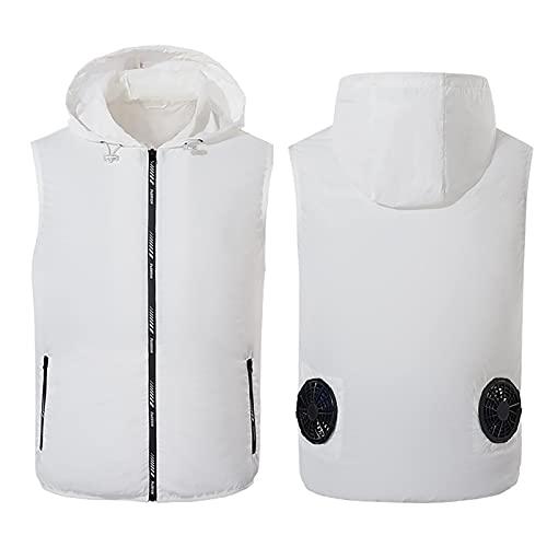 Whittie Ventilador con Aire Acondicionado de la Chaqueta de Enfriamiento, Ropa de Verano al Aire Libre Sudadera con Capucha Fresca, Traje de Protección Solar, Chaqueta de Enfriamiento,White,2XL