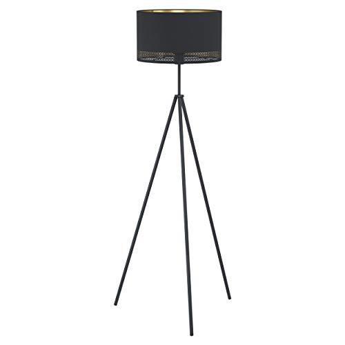 EGLO Stehlampe Esteperra, 1 flammige Stehleuchte Vintage, Retro, Standleuchte aus Stahl und Textil, Wohnzimmerlampe in Schwarz, Gold, Lampe mit Tritt-Schalter, E27 Fassung