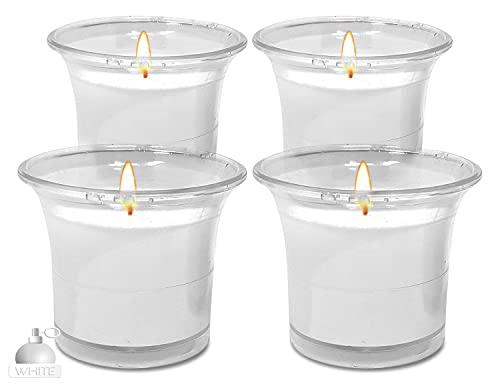 Hyoola - Candele votive profumate, con bicchiere trasparente, colore: bianco, 12 ore di combustione, confezione da 4 pezzi, realizzate in Europa