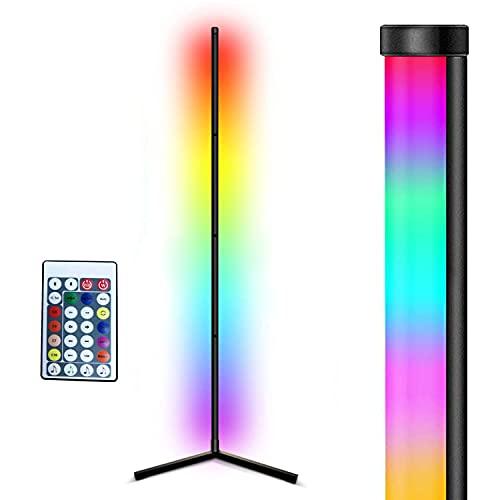156CM LED Stehlampe Dimmbar mit Fernbedienung für Wohnzimmer, Modern RGB Farbwechsel Schwarz Stehlampe für Kinderzimmer Schlafzimmer, 18 Watt