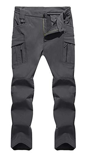 TACVASEN pantaloni da sci da uomo militari in pile foderati pantaloni tattici impermeabili con molte tasche Grau 38
