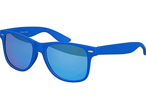 Balinco Hochwertige Nerd Sonnenbrille Rubber im Retro Stil Vintage Unisex Brille mit Federscharnier - 96 verschiedene Farben/Modelle wählbar (Blau - Blau verspiegelt)