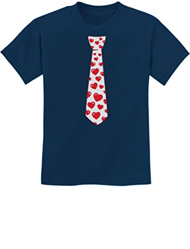 Red Hearts Tie for Valentine's Day Love Youth Kids T-Shirt Large Navy