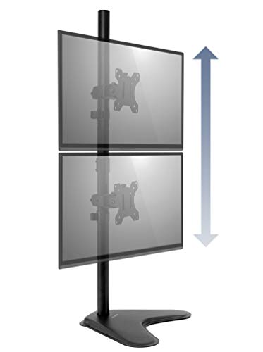 Mount-It! Dual Monitor Free Standing Desk Mount | 2 Screen Vertical Stackable Stand | Two 24 27 29...