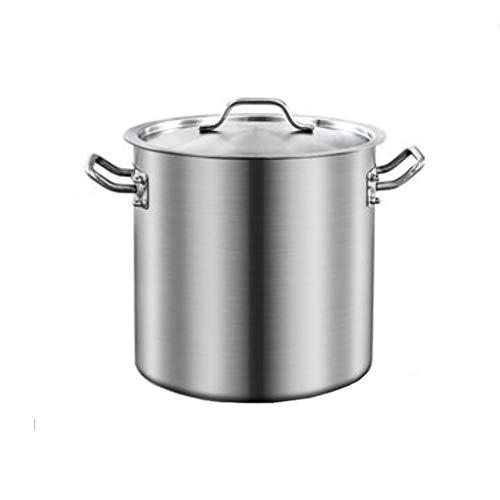 Guoguocy Ollas Rectas Acero Inoxidable ollas cazuela de Sopa de cocido for ollas y Tapas, fácil de Limpiar, Apto for Todos Superficie de la Estufa (20 cm) (Color : Silver, Size : 28cm*28cm(17L))