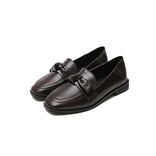 HushuigeeeWNJ Zapatos de Vestir para Mujer, Pisos de Las Mujeres Zapatos Arco Plano Oxford Zapatos clásicos Casuales con Punta Cuadrada Mariposa-Nudo Hembra PU Zapatos de Trabajo Diario de Cuero