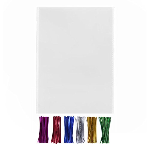 200 Clear Poly Cello Bags 9x12 with Twist Ties - 1.4mils Thickness OPP Large Plastic Bags Party Favors Supplies Thank you Gift (9'' x 12'')